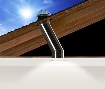 Solartube skylight with roof cutaway
