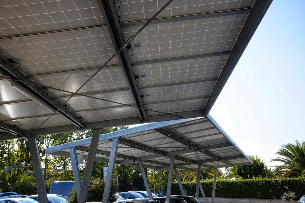 Image of a commercial solar panel carport installation in Townsville Queensland