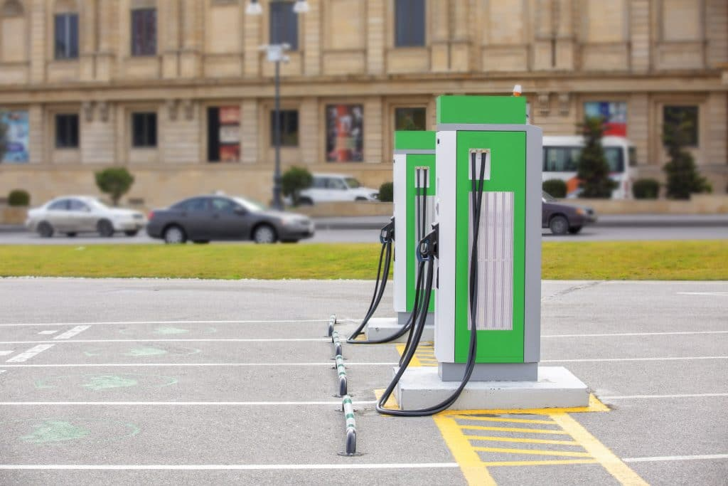Image of commercial electric vehicle charging stations installed by SuperGreen Solutions