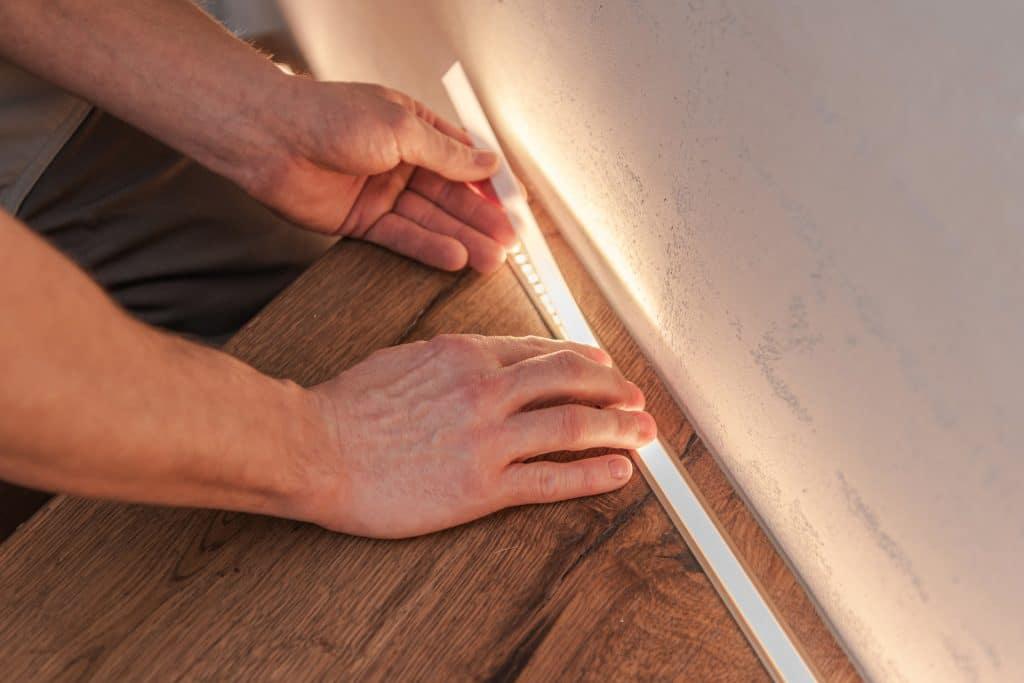image of led strip lights being installed