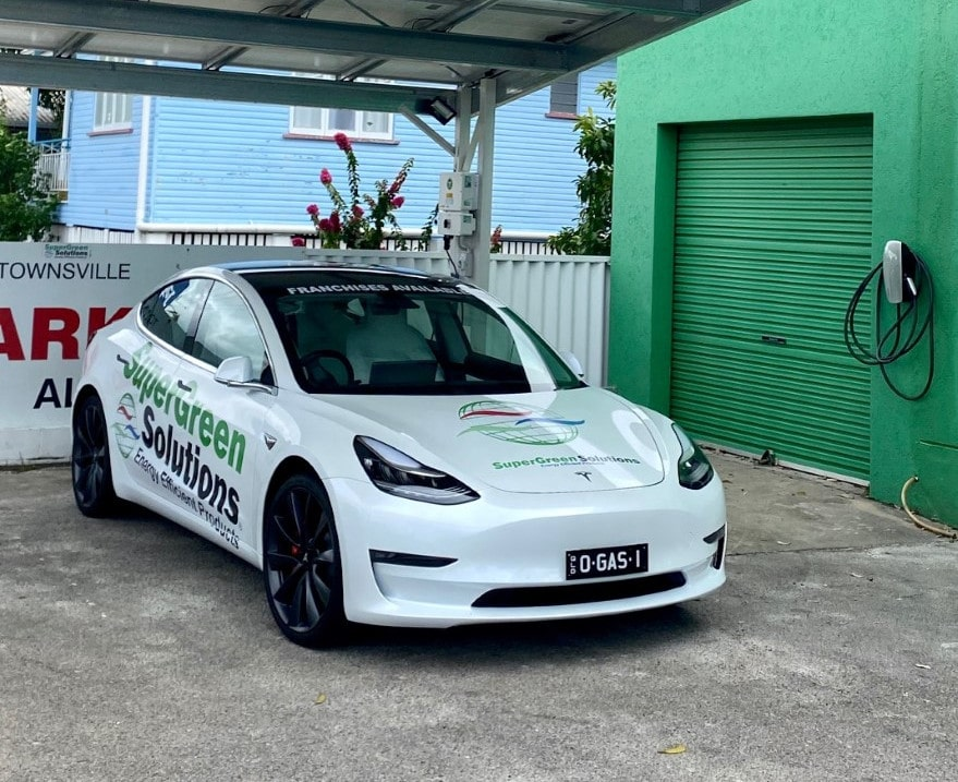 Image of the SuperGreen Solutions Tesla S branded electric vehicle