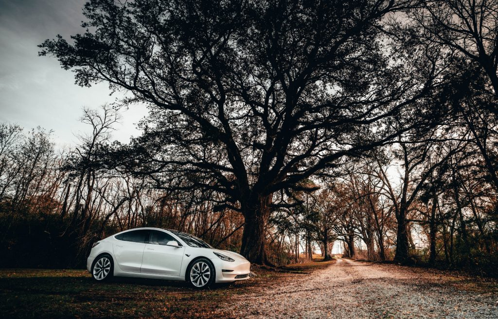 Artistic image of a Tesla 3 parked on a country road