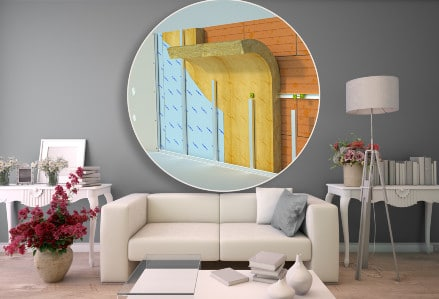 image of thermal insulation superimposed over loungeroom scene